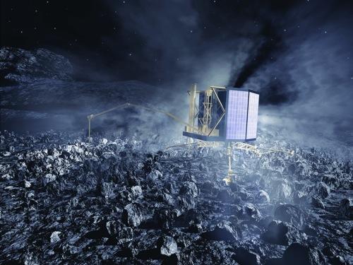 Philae på kometen 67P (Bild: ESA)