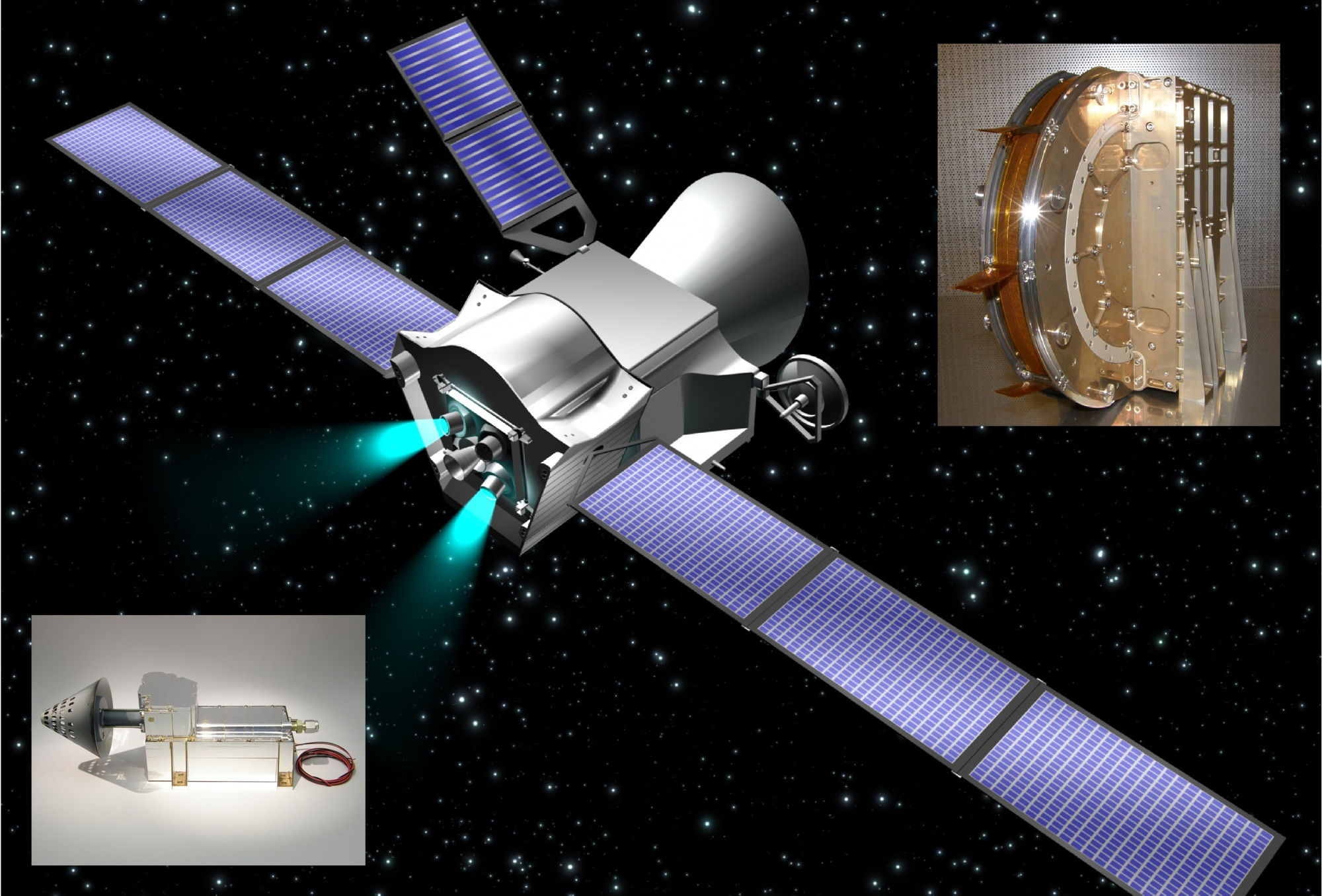 Artist's impression of BepiColombo (ESA and C. Carreau) with MIPA (left) and ENA (right, photos: IRF)