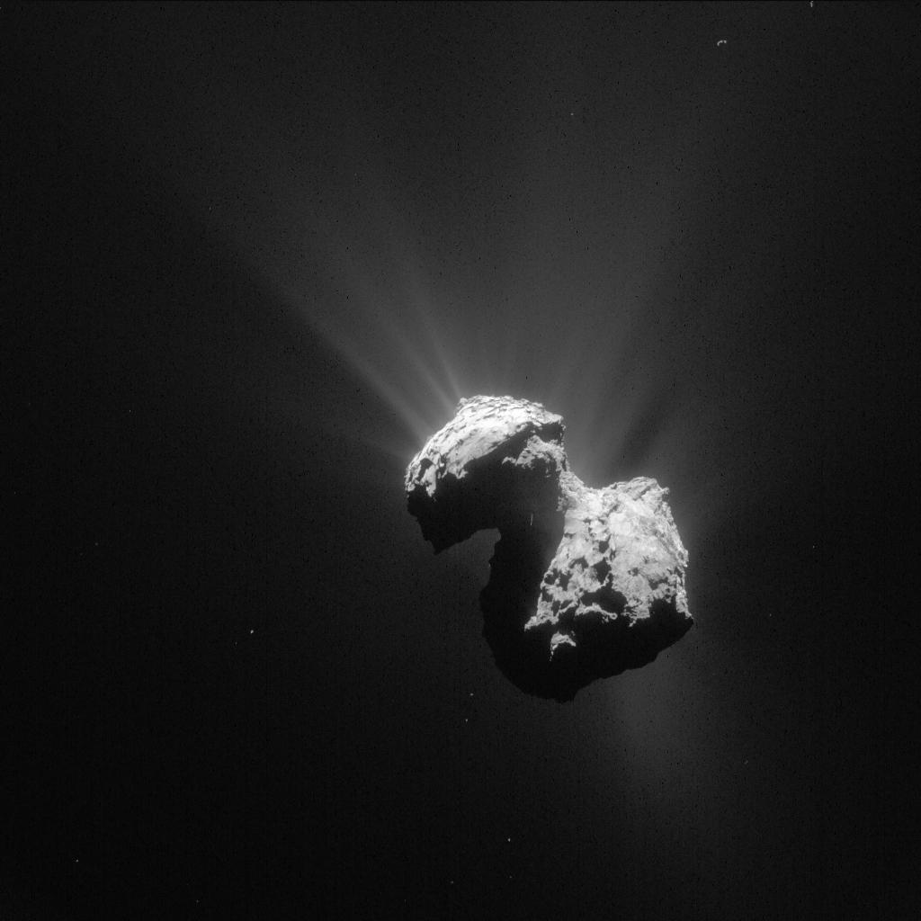 Kometen 67P/Churyumov-Gerasimenko avbildad från rymdfarkosten Rosetta (Bild: ESA/Rosetta/NAVCAM)
