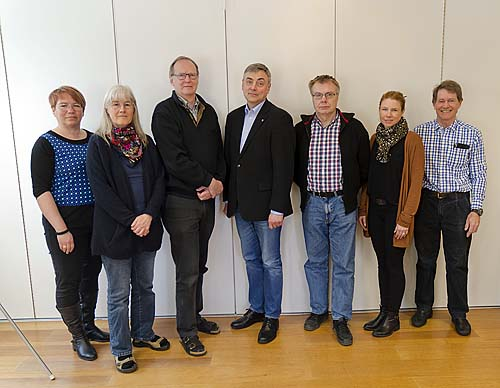 IRF's executive as at April 2016, from left: Anna-Karin Ukonsaari, Sheila Kirkwood, Lars Eliasson, Stas Barabash, Mats André, Cecilia Flemström, Rick McGregor (Photo: Hans Nilsson, IRF)