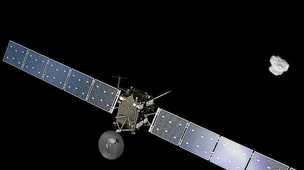 Rymdsonden Rosetta närmar sig kometen. Bild: ESA