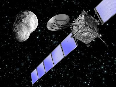 Rosetta spacecraft approaching asteroid Steins (artist's impression, ESA)