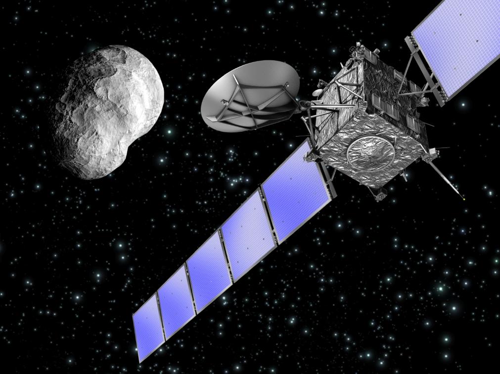 osetta spacecraft approaching asteroid Steins (artist's  impression, ESA)