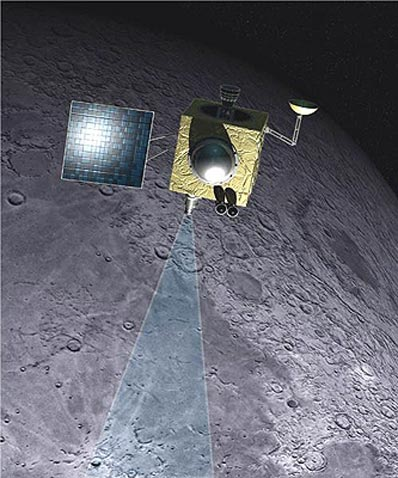 Chandrayaan-1 spacecraft above the lunar surface (Artist's impression: ISRO)