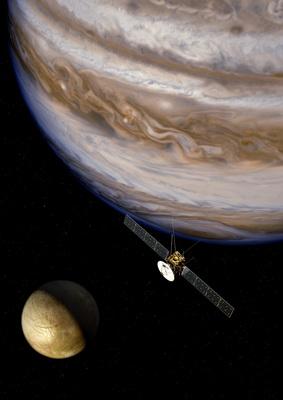 Rymdmissionen JUICE åker till Jupiter och några av dess månar 2022-2030. Teckning: ESA/AOES